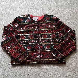 Papell Boutique Evening Vintage Silk Sequin Jacket